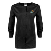 Ladies Black Snap Front Warm Up Scrub Jacket-SU w/ Hat