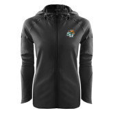 Ladies Tech Fleece Full Zip Black Hooded Jacket-SU w/ Hat