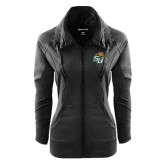 Ladies Sport Wick Stretch Full Zip Black Jacket-SU w/ Hat