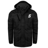 Black Brushstroke Print Insulated Jacket-Secondary Logo