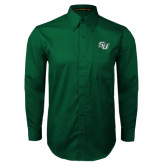 Dark Green Twill Button Down Long Sleeve-SU