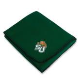 Dark Green Arctic Fleece Blanket-SU w/ Hat