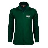 Ladies Fleece Full Zip Dark Green Jacket-SU
