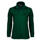 Ladies Fleece Full Zip Dark Green Jacket-SU w/ Hat
