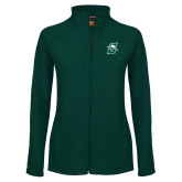 Ladies Fleece Full Zip Dark Green Jacket-Primary logo