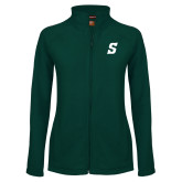 Ladies Fleece Full Zip Dark Green Jacket-Secondary Logo