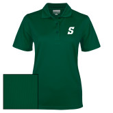 Ladies Dark Green Dry Mesh Polo-Secondary Logo