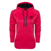 Ladies Pink Raspberry Tech Fleece Hoodie-SU w/ Hat