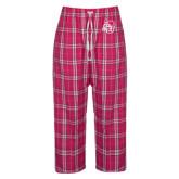 Ladies Dark Fuchsia/White Flannel Pajama Pant-SU w/ Hat