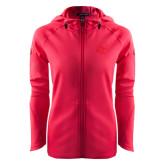 Ladies Tech Fleece Full Zip Hot Pink Hooded Jacket-SU w/ Hat