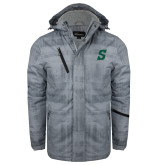 Grey Brushstroke Print Insulated Jacket-Secondary Logo