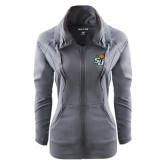 Ladies Sport Wick Stretch Full Zip Charcoal Jacket-SU w/ Hat