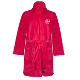Ladies Pink Raspberry Plush Microfleece Shawl Collar Robe-SU w/ Hat