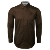 Brown Twill Button Down Long Sleeve-SU w/ Hat