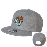 Heather Grey Wool Blend Flat Bill Snapback Hat-SU w/ Hat