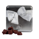 Decadent Chocolate Clusters Silver Medium Tin-SU w/ Hat Engraved