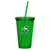 Madison Double Wall Green Tumbler w/Straw 16oz-Primary logo