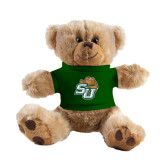Plush Big Paw 8 1/2 inch Brown Bear w/Dark Green Shirt-SU w/ Hat