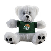 Plush Big Paw 8 1/2 inch White Bear w/Dark Green Shirt-SU w/ Hat