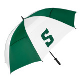 62 Inch Forest Green/White Umbrella-Secondary Logo