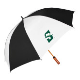 64 Inch Black/White Vented Umbrella-Primary logo