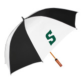 64 Inch Black/White Vented Umbrella-Secondary Logo