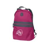 Pink Raspberry Nailhead Backpack-SU w/ Hat