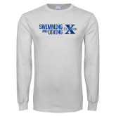 White Long Sleeve T Shirt-Swimming and Diving Stacked