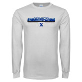 White Long Sleeve T Shirt-Swimming and Diving Stencil