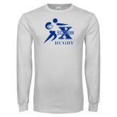 White Long Sleeve T Shirt-Rugby Design