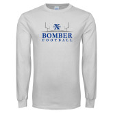 White Long Sleeve T Shirt-Bomber Football Field