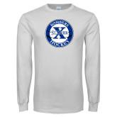 White Long Sleeve T Shirt-Hockey Design