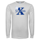 White Long Sleeve T Shirt-Volleyball Design