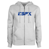 ENZA Ladies White Fleece Full Zip Hoodie-ESPX