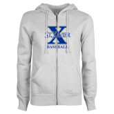 ENZA Ladies White Fleece Full Zip Hoodie-Baseball