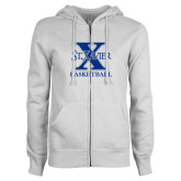 ENZA Ladies White Fleece Full Zip Hoodie-Basketball