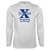 Performance White Longsleeve Shirt-Swimming and Diving