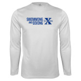 Performance White Longsleeve Shirt-Swimming and Diving Stacked