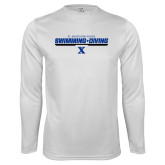 Performance White Longsleeve Shirt-Swimming and Diving Stencil