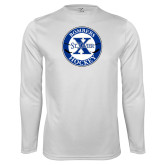 Syntrel Performance White Longsleeve Shirt-Hockey Design