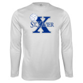 Syntrel Performance White Longsleeve Shirt-Volleyball Design
