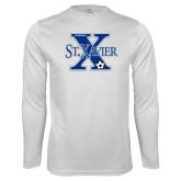 Syntrel Performance White Longsleeve Shirt-Soccer Design