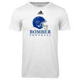 Adidas Climalite White Ultimate Performance Tee-Bomber Football Helmet