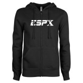 ENZA Ladies Black Fleece Full Zip Hoodie-ESPX