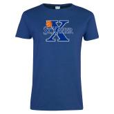Ladies Royal T Shirt-Basketball Ball Design