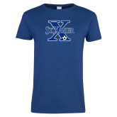 Ladies Royal T-Shirt-Soccer Design