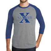 Grey/Royal Heather Tri Blend Baseball Raglan-St Xavier