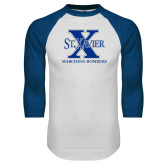 White/Royal Raglan Baseball T Shirt-Marching Bombers