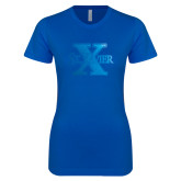 Next Level Ladies SoftStyle Junior Fitted Royal Tee-St Xavier Foil