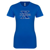 Next Level Ladies SoftStyle Junior Fitted Royal Tee-Golf Design